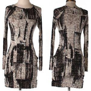 BCBGMazAriza tan printed dress